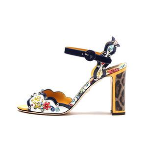 Flor de la impresión atractiva de los remaches mujeres de las sandalias peep toe zapatos de tacón alto retro Chunky la hebilla del tobillo de la correa de verano Zapatos De Mujer
