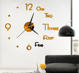 English small clock 2 mirror wall stickers manufacturers direct sales non-toxic environmental protection self-adhesive DIY clock face stick