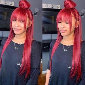 Fringe Peruk ile Bangs İçin Siyah Kadın Kırmızı Dantel Açık simülasyon İnsan Saç Peruk Renkli Bang peruk 99j Burgonya sentetik Dantel Açık Peruk