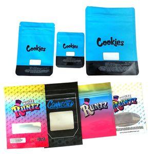 Runtz Borsa OLOGRAFICA stile 3.5g Mylar Borse Stand Up Pouch Odore prova con il cappello a chiusura lampo Pacchetto sigaretta elettronica DHL libero
