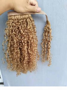 New Arrive Brazilian Human Virgin Remy curly Ponytail Hair Extensions Dark Blonde 27# Color 100g One Set