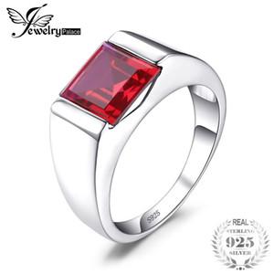 Jewelrypalace anillo para hombre / niño Pigeon Blood Ruby 3.4ct Classics Vintage Stone 925 anillos de plata esterlina accesorios joyería J190525