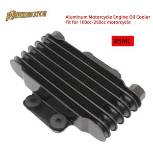 Enfriador de aceite de la motocicleta Aluminio 85ml Enfriador de aceite del motor Radiador de refrigeración para 100CC-250CC Motocicleta Dirt Bike ATV (BlackSilver)