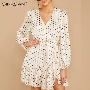 SINRGAN punto blanco en relieve elegante del vestido ocasional de las colmenas de oro forrado vestidos translúcido vestido con cuello en V manga larga Fajas otoño