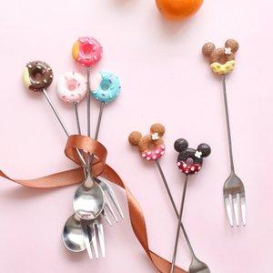 1PC Paslanmaz Çelik Mickey Donut Kaşık Çatal Kek Kahve Tatlı Çay Dondurma karıştırarak kaşığı Şeker Sevimli Karikatür Çay kaşığı