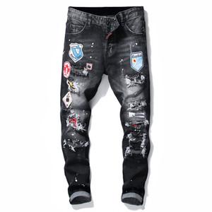 Mens Jeans Moda de Nova Mens Biker Jeans Slim Fit retas motocicleta Denim Trousers por Homem Tamanho 28-38