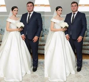 2020 Simple Satin A-Line Wedding Dresses Off Shoulder Sweep Train Country Bridal Gowns Plus Size Simple Wedding Dress Vestidoe De Noiva