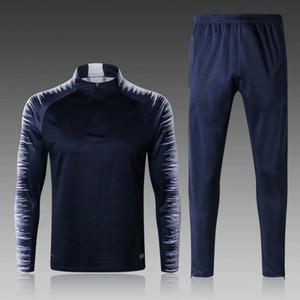 18 19 Survetement de foot France футбол спортивный костюм 2 звезды синий футбол спортивные костюмы для бега с длинным рукавом MBAPPE POGBA детский комплект мужской тренировочный костюм