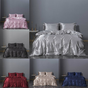 2020 Hot-selling Bedding Sets 3 Pcs Solid Bed Suit Duvet Cover Silk Designer Bedding Supplies In Stock