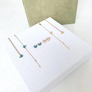 Designer Vintage Classique Deux papillon Marque S925 argent sterling bleu et blanc Pendentif Papillon Collier Bracelet Boucles d'oreilles Ensemble de bijoux