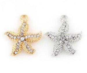 23x20mm (Altın, Gümüş Renk) 20 Adet / grup Denizyıldızı Kolye Charm DIY Aksesuar Asmak Yüzer Locket Jewelrys Için Fit
