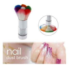 Nail Brush Nails منظف غبار أكريليك ملون فراشي مكياج مع الماس