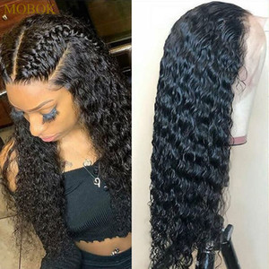 13x4 Lace Front perruque de cheveux humains avec bébé cheveux pré plumé vague profonde perruque gratuit Brésil Brésilien Curly perruque de cheveux humains