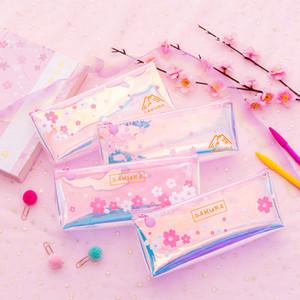 Laser de fleurs de cerisier transparent sac à cosmétiques Crayon cas Zipper Organisateur Nouveau Petit frais Simple Clear maquillage Sacs Brosse Pouch