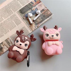 Silicón de la historieta de los ciervos rosada linda del chocolate auricular de la cubierta del color para Apple Airpods 1 2 Caso