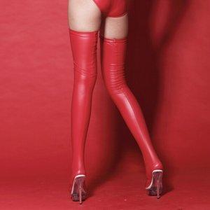 Mulheres de Látex De Couro Artificial Longo Meias Sexy Sobre O Joelho Longo Coxa Meias Sobre O Joelho Perna Fina
