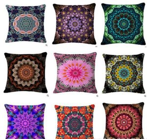 Eco-Friendly Bohemian Mandala Círculo Padrão Cotton Flor de linho Impresso Throw Pillow New Home Decor Sofá Voltar Almofada cintura Pillowcase