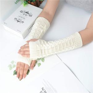 2019 Nuovo Inverno tenere in caldo lana guanti lunghi delle donne Twist lavorato a maglia guanto Nuovo Mezza Finger Mittens
