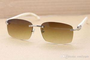 Cuerno de búfalo de lujo Gafas Hombres Mujeres Negro Blanco cuerno de búfalo gafas de sol sin montura de gafas de sol de marca de diseño genuino del marco cuerno de búfalo de cristal