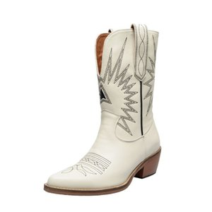 2019 autumn new fashion women shoes winter boots Genuine Leather High heel women mid-calf boots pointed toe western cowboy