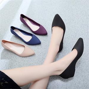 Superficie helada de poca profundidad zapatos de cuña individuales de las mujeres elegantes del verano Moda Scrub antideslizantes Bombas en punta del dedo del pie zapatos sin cordones de trabajo