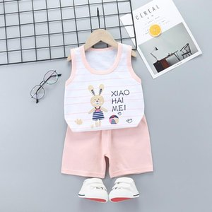 Toddler Boys Baby Kids Girls Sleeveless Summer Cotton Cartoon Vest+Shorts Outfit Set Clothes Boys Clothes Kids W5