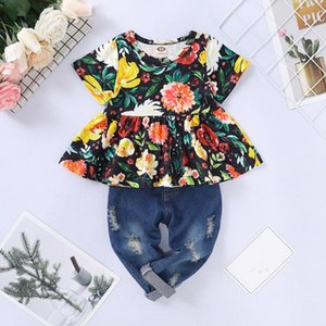 ISHOWTIENDA 2PCS Toddler Infant Baby Girl Clothes Outfit Short Sleeve Floral T-shirt Tops Denim Pants Set 6M-3T May.06