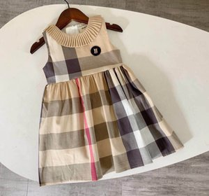 New 2-6T Sommermädchen-Kleidung modische Kleider kariert Kinder für Mädchen Umlegekragen England Artkleider Kleinkindmädchen