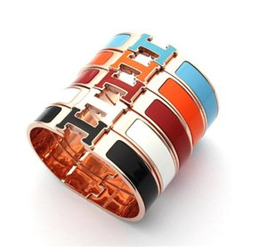Hot sale Titanium steel punk 1.2cm width bangle with all enamel bangle for man and women bangle in size 5.9*4.8cm