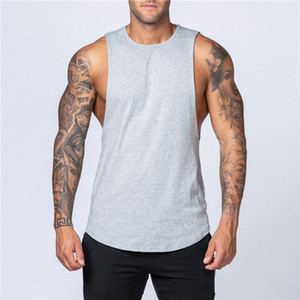 Men Tank Tops Shirt Fitness Clothing Solid Cotton Sleeveless O Neck Vest Man Plain Cotton Bodybuilding Sportswear Casual Fashion T Shirt