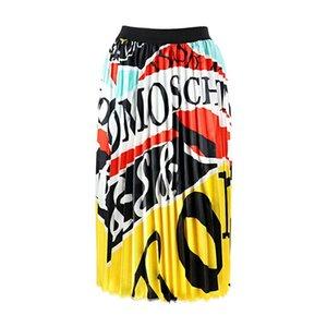Diseñador vestido de la falda verano de las mujeres Marca de verano de gran tamaño lujo de las mujeres falda plisada falda de impresión digital directo de fábrica