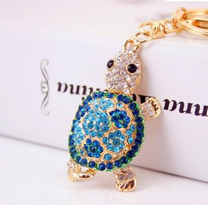 DHL Cute Turtle rhinestone keychain for women bag cute pendant car key alloy keyring gift nd Party Supplies 5.6*4.2cm