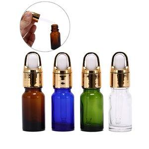 10ML Empty Blue Glass Essential Oil Dropper Bottle Dropper Lid Vials Refillable Portable Travel Box