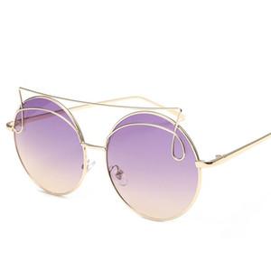 Moda Kadınlar Mizaç Güneş Gözlüğü Kişilik Tasarım Güneş Gözlükleri Gözlükler Anti-Uv Gözlük Yuvarlak Çerçeve Gözlük GÜNEŞ Gass ...