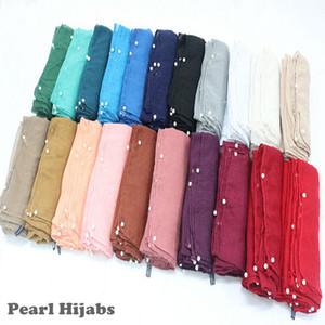 38 색 진주 일반 hijab 스카프 견고한 이슬람 머리띠 소프트 볼리 스카프 숄 진주 oulard bead 머플러 encharpe