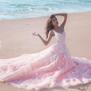 새로운 새해 얇은 명주 그물 국자 순전히 목 민소매 레이스 긴 신부 드레스 두바이 아랍 공주 3D 꽃 무늬 꽃 핑크 A 라인 웨딩 드레스