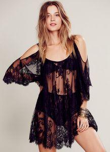 Kadınlar Plajı Elbise Seksi Kayış Şeffaf Çiçek Dantel İşlemeli Tığ Yaz Elbise Hippi Boho Elbise vestidos Plaj Giyim Boyut S-XL