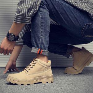 Sıcak Satış-38-44 Yeni POP Moda erkek işçi ayakkabı hepsi maç Casual yüksek vamp Martin botları Koreli Gerçek Deri eğlence askeri bot