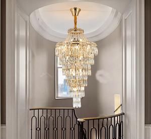 Pós-moderno Duplex Edifício candelabro de cristal de luz extra longa LED de cristal do ouro Rotating Lâmpadas Pingente Para Staircase Villas Hotel MYY