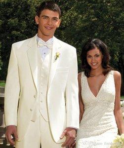 New Design Marfim Do Noivo Smoking Padrinhos Melhor Homem Ternos Dos Homens Ternos de Casamento Blazer (Jaqueta + Calça + Colete + Gravata) 1139