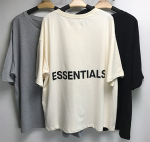 2019 Fear Of God t-shirt mezza manica in cotone Tshirt Torna lettere Nebbia ESSENTIALS Oversize maglietta Estate Stile Fear Of God maglietta Streetwear