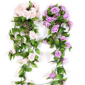 2 stücke silk rosen ivy vine mit grünen blättern für zu hause hochzeitsdekoration gefälschte blatt diy hängende girlande künstliche blumen