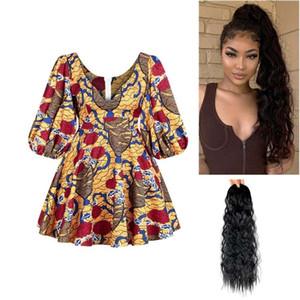 African Clothes Print Dresses Women Sexy Outfit Danshiki Trumpet Sleeve Zipper Mini Skirt Summer Dress Long Curly Human Hair Wig