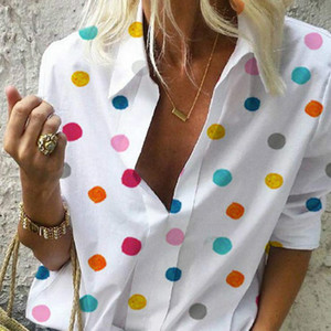 VITIANA las mujeres ocasionales de la blusa del verano 2019 de la manga larga femenina punto colorido Tops Streetwear mujeres y Tamaño Blusas para Mujeres de 5XL