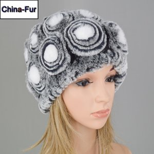 2020 New Lady Floral Knit 100% Natural Rex Fur Beanies Hat Winter Women Real Fur Hats Good Elastic Genuine Skully Cap