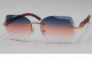 Ahşap Kesme Lens Güneş Yeni Çerçevesiz gözlükler Sıcak Sunglasses 3.0 Sıcak Oyma Ücretsiz Kargo Çerçevesiz Güneş Oyma mercek T8200762
