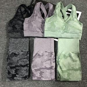 2pcs / set Camouflage Yoga Set 여자 완벽 한 피트 니스 요가 브래지어 스포츠 브래지어 높은 허리 체육관 카 모 린 바지 피트 니스 양복 운동 SH19062702