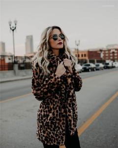 Sahte Kürk Ceket Tasarımcı Palto Giyim Kadın Moda Leopard