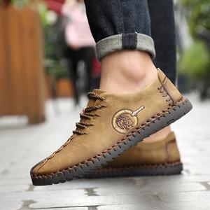 2019 LAKESHI Moda Deri Ayakkabı Erkekler Full Handtailor Vintage Sneakers Huarache Makosenler Kaymaz Süper Sıcak Flats Erkekler loafer'lar
