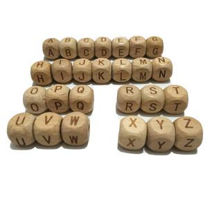 Praça madeira de faia Alfabeto Beads Teether 12MM Natural Faia Beads de madeira da letra para os brinquedos fazer jóias DIY Colar dentição do bebê